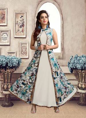 Jacket Patterned Designer Readymade Kurti Is Here In White And Multi Color. Its Pretty Jacket Is Beautified With Digital prints All Over. Buy Now.