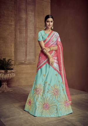 Grab This Designer Rich Looking Lehenga Choli In Sky Blue Color Paired With Contrasting Dark Pink Colored Dupatta. Its Blouse And Lehenga Are Fabricated On Satin Silk Paired With Net Fabricated Dupatta. Buy Now.