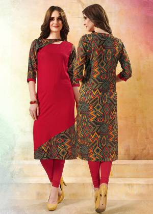 Simple And Elegant Looking Readymade Kurti Is Here In Red And Multi Color Fabricated On Rayon. It Is Beautified With Prints And Available In All Regular Sizes. Buy Now.