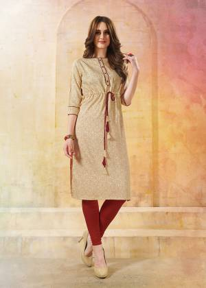 Beat The Heat This Summer With This Easy go Readymade Kurti In Beige Color Fabricated On Rayon. It Is Light In Weight And Easy To Carry All Day Long.