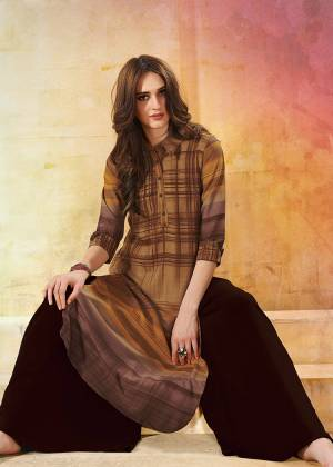 Be It Your College, Home Or Work Place. This Kurti Is Suitable For All. Grab This Brown Colored Rayon Fabricated Kurti Beautified With Checks Prints.