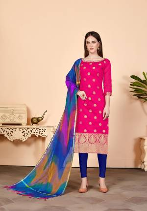 Shine Bright Wearing This Suit In Rani Pink Colored Top Paired With Contrasting Royal Blue Colored Bottom And Multi Colored Dupatta. Its Top Is Fabricated On Jacquard Silk Paired With Cotton Bottom And Banarasi Art Silk Dupatta. Get This Stitched As PerYour Desired Fit And Comfort.