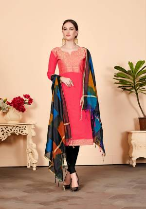 For Your Caasuals Or Semi-Casuals, Grab This Pretty Dress Material In Pink Colored Top Paired With Black Colored Bottom And Dupatta. Its Top Is Fabricated On Jacquard Silk Paired With Cotton Fabricated Bottom And Banarasi Art Silk Dupatta. Buy Now.