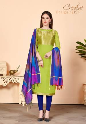 Shine Bright Wearing This Suit In Light Green Colored Top Paired With Contrasting Royal Blue Colored Bottom And Dupatta. Its Top Is Fabricated On Jacquard Silk Paired With Cotton Bottom And Banarasi Art Silk Dupatta. Get This Stitched As PerYour Desired Fit And Comfort.