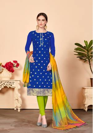Proper Traditional Color Pallete Is Here With This Designer Dress Material In Royal Blue Colored Top Paired With Contrasting Light Green Colored Bottom And Multi Colored Dupatta. Its Top And Dupatta are Silk Based Paired With Cotton Fabricated Bottom.