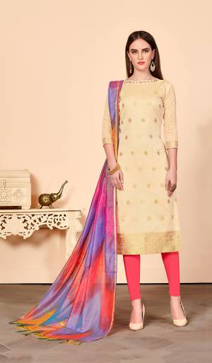 Look Beautiful In This Simple And Elegant Looking Dress Material In Beige Colored Top Paired With Contrasting Pink Colored Bottom And Multi Colored Dupatta. Its Top Is Jacquard Silk Fabricated Paired With Cotton Bottom And Banarasi Art Silk Dupatta.