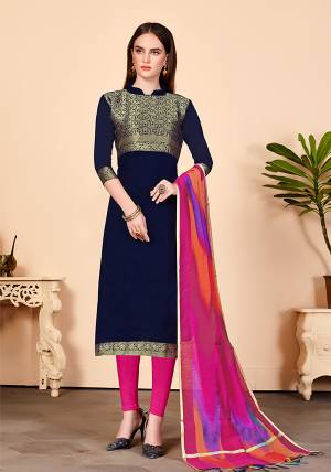 Look Beautiful In This Simple And Elegant Looking Dress Material In Navy Blue Colored Top Paired With Contrasting Dark Pink Colored Bottom And Dupatta. Its Top Is Jacquard Silk Fabricated Paired With Cotton Bottom And Banarasi Art Silk Dupatta.
