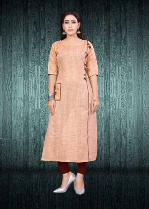 Simple And Elegant Looking Readymade Kurti Is Here In Peach Color Fabricated On South Cotton. This Kurti Is Light In Weight And Easy To Carry All Day Long. Buy Now.