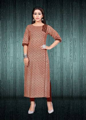 Simple And Elegant Looking Readymade Kurti Is Here In Brown Color Fabricated On South Cotton. This Kurti Is Light In Weight And Easy To Carry All Day Long. Buy Now.