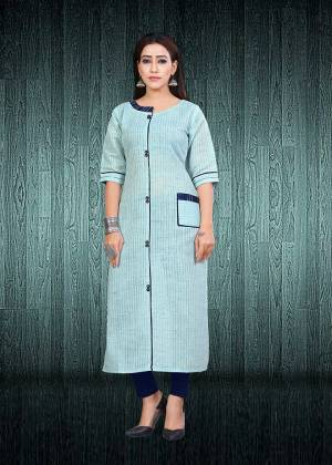 Look Pretty In This Readymade Sky Blue Colored Kurti Fabricated South Cotton. This Is Suitable For College, Home Or Work Place. Buy Now.