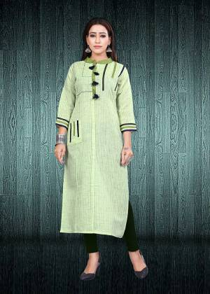 Simple And Elegant Looking Readymade Kurti Is Here In Light Green Color Fabricated On South Cotton. This Kurti Is Light In Weight And Easy To Carry All Day Long. Buy Now.