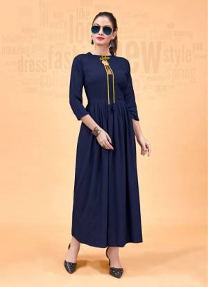You Will Definitely Earn Lots Of Compliments Wearing This Designer Readymade Kurti In Navy Blue Color. Its Lovely Pattern And Elegant Design Will Give A Unique Look To Your Personality. Buy This Readymade Kurti Now.