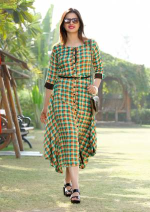 Grab This Designer Asymetric Patterned Readymade Kurti In Multi Color Fabricated On Rayon. This Kurti Is Beautified With Checks Prints All Over. This Readymade Kurti Is Suitable For Your College Wear, Outing Or At Your Work Place.