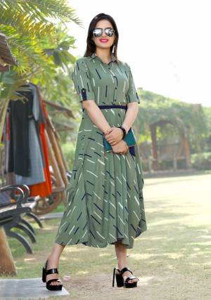 Formal Looking Designer Readymade Kurti Is Here In Olive Green Color Fabricated On Rayon. Its Rich Color And Decent Pattern Will Earn You Lots Of Compliments From Onlookers.
