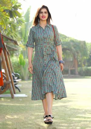 You Will Earn Lots Of Complinents In This Designer Readymade Kurti In Grey Color Fabricated On Rayon. It Is Light In Weight And Easy To Carry All Day Long For Your College Or Office Wear.