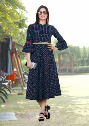 Grab This Beautiful Checks Printed Designer Readymade Kurti In Navy Blue Color Fabricated On Rayon. This Kurti Is Light In Weight And Ensures Superb Comfort All Day Long.