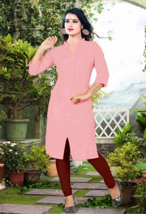 Add Some Casuals With This Plain Readymade Kurti In Pink Color Fabricated On Cotton. This Kurti Is Light Weight, Soft Towards Skin, Durable And Also Available In All Regular Sizes, Buy This Simple Kurti Now.
