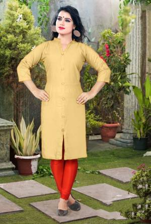 Add Some Casuals With This Plain Readymade Kurti In Beige Color Fabricated On Cotton. This Kurti Is Light Weight, Soft Towards Skin, Durable And Also Available In All Regular Sizes, Buy This Simple Kurti Now.