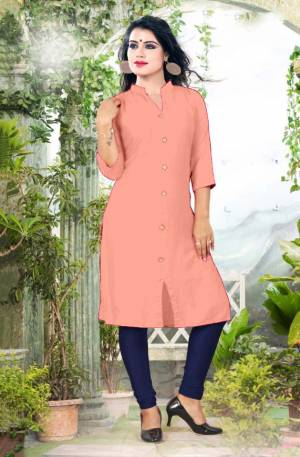 Add Some Casuals With This Plain Readymade Kurti In Peach Color Fabricated On Cotton. This Kurti Is Light Weight, Soft Towards Skin, Durable And Also Available In All Regular Sizes, Buy This Simple Kurti Now.