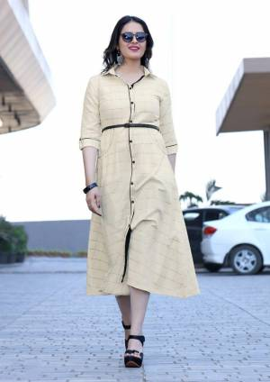 Simple And Elegant Looking Designer Readymade Kurti Is Here In Cream Color Fabricated On Rayon. This Kurti Is Beautified With Bold Checks Prints All Over. Buy Now.