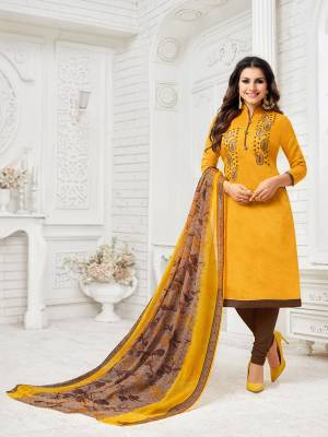 Celebrate This Festive Season With Beauty And Comfort Wearing This Designer Straight Suit In Musturd Yellow Colored Top Paired With Brown Colored Bottom And Brown And Yellow Colored Dupatta. Its Embroidered Top Is Fabricated On Modal Silk Paired With Cotton Bottom And Chiffon Fabricated Dupatta. Buy This Dress Material Now.