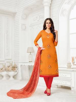 Here Is A Proper Traditional Color Pallete With This Designer Dress Material In Orange Colored Top Paired With Contrasting Red Colored Bottom And Red And Orange Colored  Dupatta. Its Top Is Fabricated On Modal Silk Paired With Cotton Bottom And Chiffon Printed Dupatta.