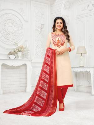 Rich And Elegant Looking Straight Suit Is Here In Cream Colored Top Paired With Red Colored Bottom And Dupatta. Its Embroidered Top Is Fabricated On Modal Silk Paired With cotton Bottom And Chiffon Fabricated Dupatta. Buy This Dress Material Now.