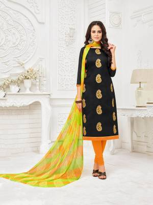 For A Bold And Beautiful Look, Grab This Designer Dress Material In Black Colored Top Paired With Orange Colored Bottom And Orange And Green Colored Dupatta. Get This Stitched As Per Your Desired Fit And Comfort.