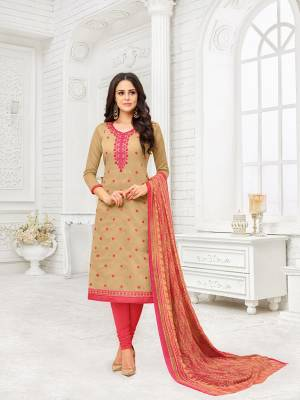 Simple And Elegant Looking Designer Suit Is Here In Beige Colored Top Paired With Dark Pink Bottom and Beige And Pink Colored Dupatta. Its Top Is Fabricated On Modal Silk Paired With Cotton Bottom And Chiffon Fabricated Dupatta. Buy This Dress Material And Get This Stitched As Per Your Desired Fit And Comfort.