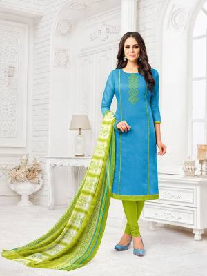 Add This Beautiful Dress Material To Your Wardrobe And Get This Stitched As Per Your Desired Fit And Comfort. This Dress Material Has Pretty Cool Color Pallete In Sku Blue And Green. Its Top Is Fabricated On Modal Silk Paired With Cotton Bottom And Chiffon Fabricated Dupatta.