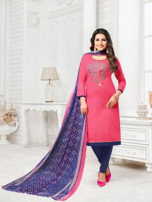 Look Pretty In This Designer Thread Embroidered Straight Suit In Pink Colored Top Paired With Contrasting Violet Colored Bottom And Dupatta. Its Top Is Fabricated On Modal Silk Paired With Cotton Bottom And Chiffon Fabricated Dupatta. Get This Stitched As Per Your Desired Fit And Comfort.