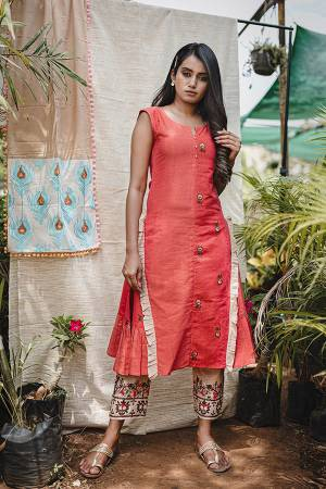 Beat The Heat This Summer Wearing This Designer Readymade Indo Western Pair Of Kurti And pants. This Whole Set Is Khadi Based Beautified With Prints And Thread Embroidery. It Is Available In Sizes, Choose As Per Your Desired Fit And Comfort.
