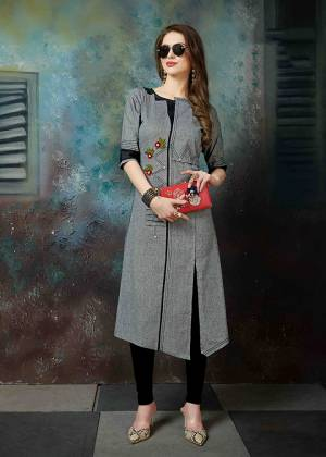 Rich And Elegant Looking Designer Readymade Kurti Is Here In Grey Color Fabricated On Khadi Cotton Beautified With Thread Embroidery.