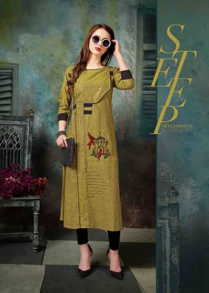 New Shade Is Here To Add Into Your Wardrobe With This Designer Readymade Kurti In Olive Green Color Fabricated On Khadi Cotton. It Has Unique Pattern With Pretty Thread Embroidery.