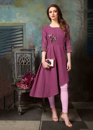 Here Is A Beautiful Designer Readymade Kurti In Magenta Pink Color Fabricated On Khadi Cotton. This Kurti Is Beautified With Thread Work And Available In All Regular Sizes.