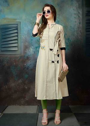 Simple And Elegant Looking Designer Readymade Kurti Is Here In Cream Color Fabricated On Khadi Cotton. It Is Beautified With Pretty Thread Embroidery And Also Light In Weight And Easy To Carry All Day Long.