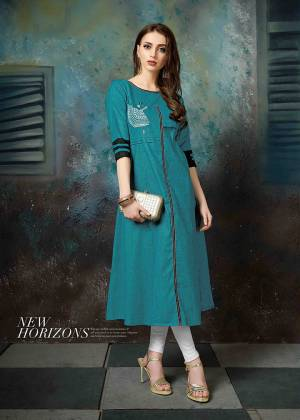 Be It Your College Or Office, This Readymade Designer Kurti Is Suitable For All. This Lovely Blue Colored Kurti Is Fabricated On Khadi Cotton Beautified With Pretty Thread Work. Buy Now.