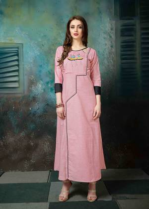 Look Pretty In This Designer Readymade Kurti In Pink Color Fabricated On Khadi Cotton. It Is Beautified With Pretty Thread Work Which Earn You Lots Of Compliments From Onlookers.