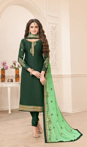 Opt For A Minimal Chic Look With This Designer Straight Suit In Dark Green Color Paired With Light Green Colored Dupatta. Its Top Is Fabricated On Satin Georgette Paired With Santoon Bottom And Georgette Fabricated Dupatta. Buy This Suit Now.
