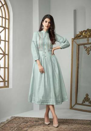 Simple And Elegant Looking Designer Readymade Kurti Is Here In Baby Blue Color Fabricated On Cotton Slub. This Kurti Is Light Weight And Ensures Superb Comfort All Day Long.