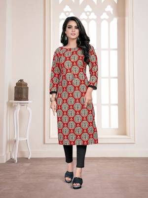 Be It Your College, Home Or Work Place, This Kurti IS Suitable For All. Grab This Readymade Kurti In Red And Black Color Fabricated On Cotton Beautified With Prints All Over.