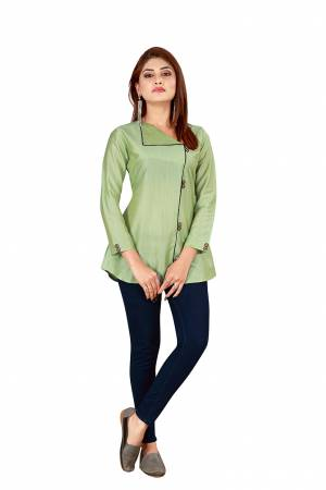 Grab This Pretty Simple Readymade Top In Pastel Green Color Fabricated On Art Silk. You Can Pair This Up With Denim Or Pants. Buy Now.