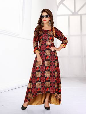 Go Colorful With This Readymade Gown In Multi Color Fabricated Rayon. This Gown Is Beautified With Prints All Over And Has A Trendy High Low Pattern. Buy Now.