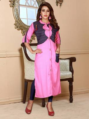 Look Pretty In This Designer Readymade Straight Kurti In Pink Color Fabricated on Rayon. It Is Light In Weight And Easy To Carry All Day Long.