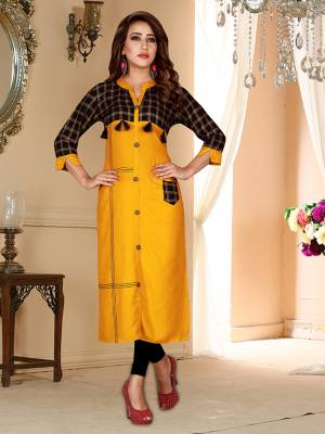 Celebrate This Festive Season With Beauty And Comfort Wearing This Readymade Kurti In Musturd Yellow Color Fabricated On Rayon. This Kurti Is Light weight And Easy To Carry all Day Long.