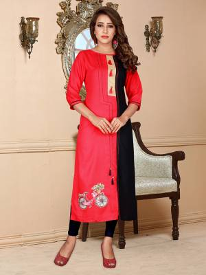Beight And Appealing Color IS Here With This Readymade Kurti In Dark Pink Color Fabricated On Rayon Beautified With Prints.