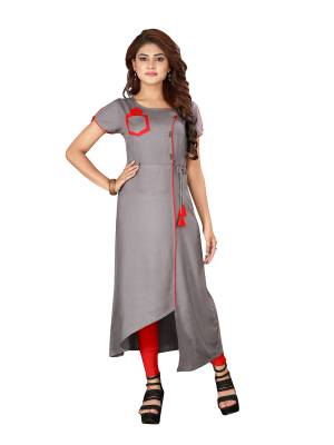 For A Bold And Beautiful Look, Grab This Readymade Kurti In Grey Color With Lovely Assymetric Pattern, It Is Fabricated on Rayon. Buy Now.
