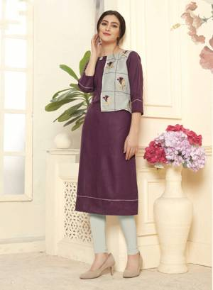 Add This Pretty Readymade Kurti In Purple Color Fabricated On Cotton Slub. This Kurti IS Beautified With Thread Work Which Gives A Subtle Look.