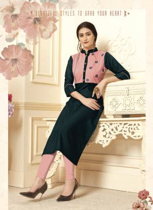 Here Is Very Pretty Yoke Patterned Readymade Straight Kurti In Dark Blue Color Fabricated On Cotton Slub Beautified With Thread Work.