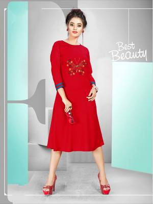 Grab This Beautiful Long Kurti For Your Semi-Casuals In Red Color. This Readymade Kurti Is Fabricated On Rayon Beautified With Butta Work. Also It IS Available In All Regular Sies.